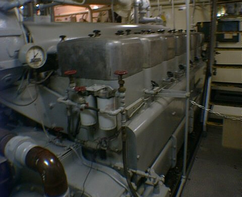 Lightship WLV-605 Relief's Atlas-Imperial 626 model diesel engine, on Rudy & Alice's Lighthouse Page